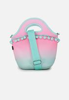 Typo - Neoprene lunch tote with strap - ombre pom pom