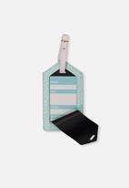 Typo - Luggage tag - aqua polka