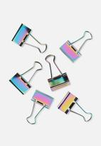 Typo - Bulldog clip pack of 6 - oil slick
