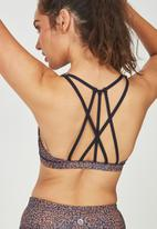 Cotton On - Recycled strappy sports crop - indigo & coral