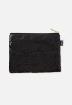 Typo - Sequin band pencil case - black