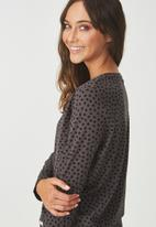Cotton On - Boxy long sleeve top - charcoal & black