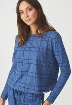 Cotton On - Boxy long sleeve top - blue & black