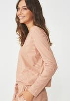 Cotton On - Boxy long sleeve top - beige & white