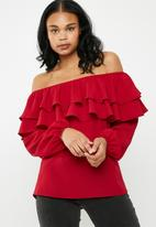 Superbalist - Frilled off the shoulder blouse - red