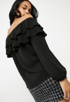 Superbalist - Frilled off the shoulder blouse - black