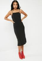 Superbalist - Square neck midi slip dress - black