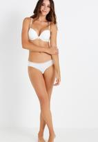 Cotton On - Smooth lace trim brasiliano brief - cream