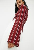 Missguided - Striped drape plunge bodysuit - burgundy