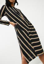 Superbalist - Stripe midi dress with gather detail - multi
