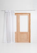 Sixth Floor - Button detail tab top unlined curtain - white & grey