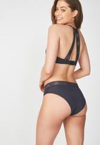 Cotton On - High waist lace trim cheeky brief - charcoal
