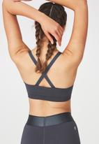 Cotton On - Seamfree cross back sports crop - charcoal