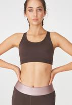 Cotton On - Seamfree cross back sports crop - brown