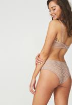 Cotton On - Jojo allover lace high waist brasiliano brief - neutral