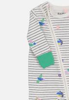 Cotton On - Mini zip through romper - white & green