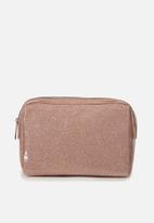 Typo - Dual zipper cosmetic case - rose gold