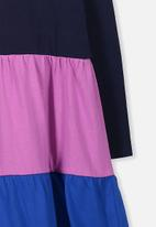 Cotton On - Kids maddie long sleeve dress - navy