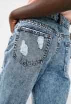 dailyfriday - Hi waist slim distressed mom jean - blue