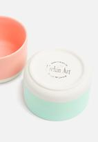 Urchin Art - Soft block dip bowl set of 2 - coral & mint