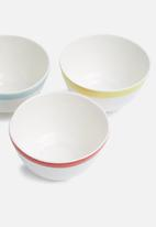 Urchin Art - Super normal snack bowl set of 3 - red, blue & yellow