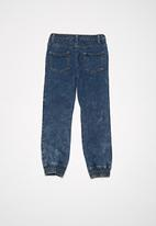 basicthread - Kids acid wash denim joggers - blue