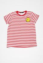 basicthread - Kids boys striped ringer tee - red & white