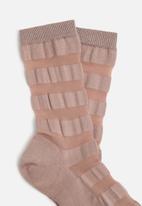 Falke - Sheer stripe anklet - dusty pink
