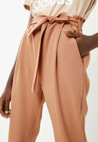 Superbalist - High waisted self tie suit pant - tan
