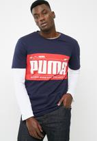 PUMA - Graphic logo block tee - navy