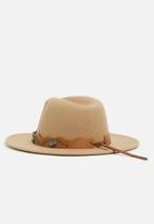 Missguided - Western fedora hat - tan