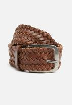 Superbalist - Matthew woven leather belt - brown