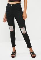 dailyfriday - Ameli high waisted ripped skinny jeans - black