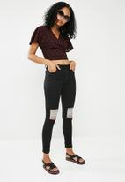 8439001bbb15d Ameli high waisted ripped skinny jeans - black dailyfriday Jeans ...