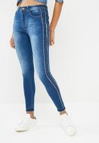 dailyfriday - Hi waist side stripe slim jean - blue