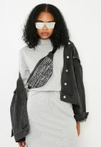 Missguided - Flat bar mirror sunglassses - silver
