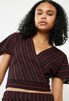 Superbalist - Knit wrap top - black & red