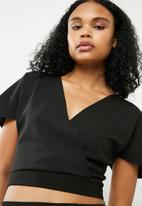 Superbalist - Knit wrap top - black