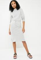 Superbalist - Turtle neck drawstring midi dress - grey