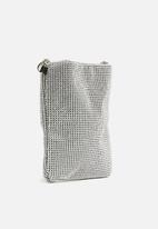 Missguided - Diamante glitter chainmail cross body bag - silver
