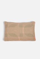 Present Time - Retro grid cushion - peach