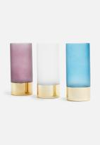 Present Time - Gold glamour vase - glass matte blue