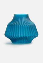 Present Time - Stripes vase - glass matte small blue