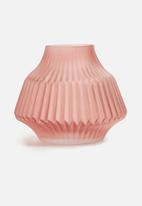 Present Time - Stripes vase - glass matte small pink