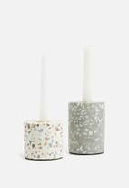 Present Time - Terrazzo candle holder - grey