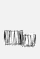 Present Time - Lines basket set - black
