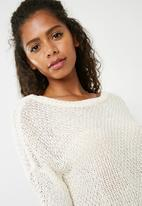 Missguided - Plunge v back knitted jumper - cream