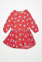 Cotton On - Kids Cassandra long sleeve dress - red & blue