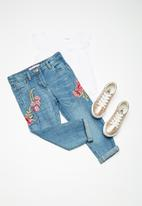 MINOTI - Kids girls cropped roll up denim jeans - blue