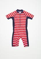MINOTI - Kids boys red stripe rash all in one - red